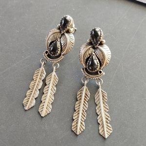 Sterling onyx native American earrings